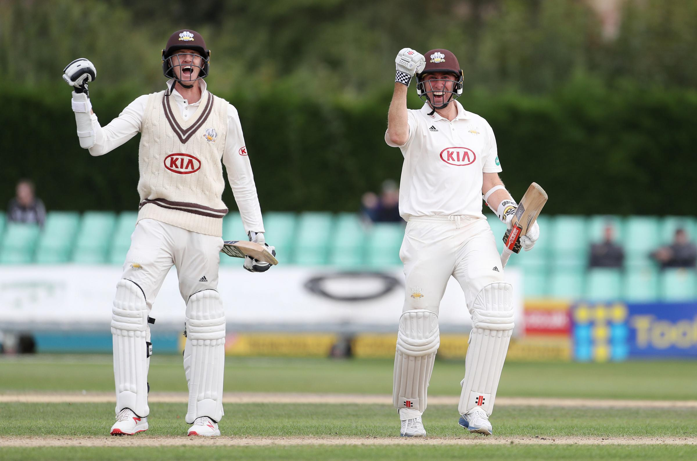 Surrey's Rikki Clarke and Morne Morkel celebrate victory over Worcestershire and clinching the Specsavers County Championship title at Blackfinch New Road, Worcester. PRESS ASSOCIATION Photo. Picture date: Thursday September 13, 2018. See PA story CRI