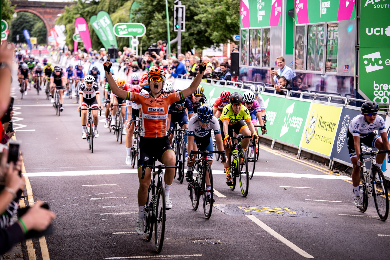 Women's Tour stage four winner Amalie Dideriksen crossing the finishing line in Worcester