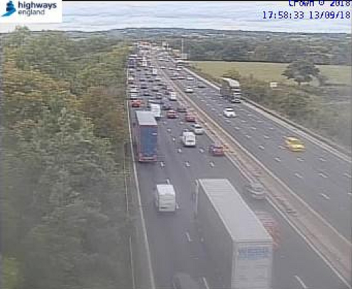 CRASH: There are delays on the M5 after a crash. Picture: Highways England
