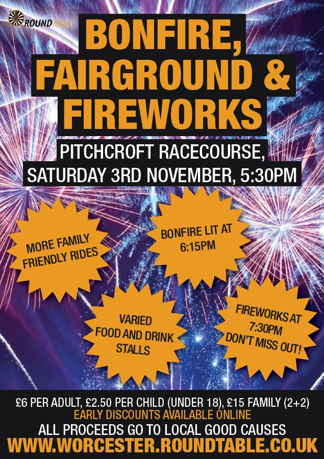 Bonfire, fairground, food stalls and fireworks for charity!