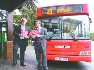 JUST THE TICKET: Alf Elmes, from MHS Travel, and Austin Birks, from the Diamond Bus Company.