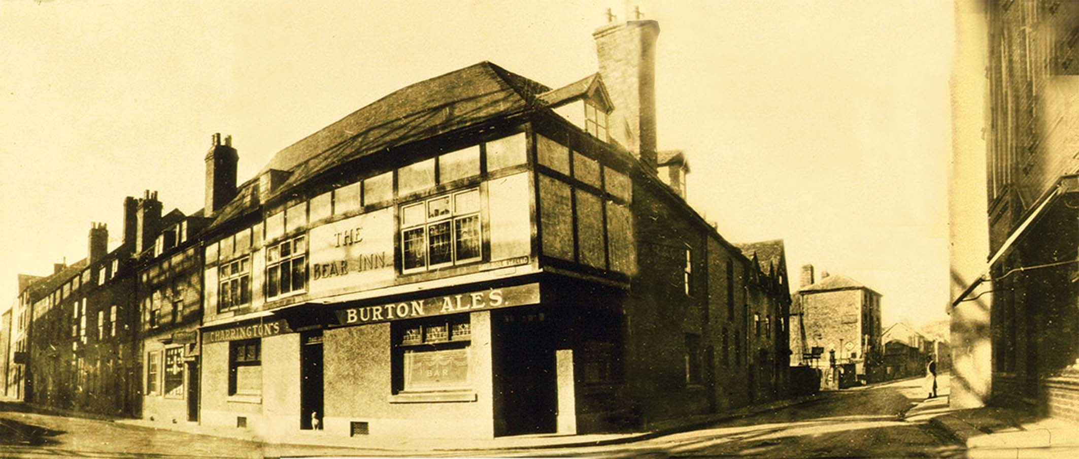 Photograph c1900 showing Bass Charrington's (later M&B's) long-life Bear, active 1710-1967, at the junction of Tybridge Street and Hylton Road and now MacDonalds. Some 40 yards to the left at what's now the entrance to Homebase stood the A