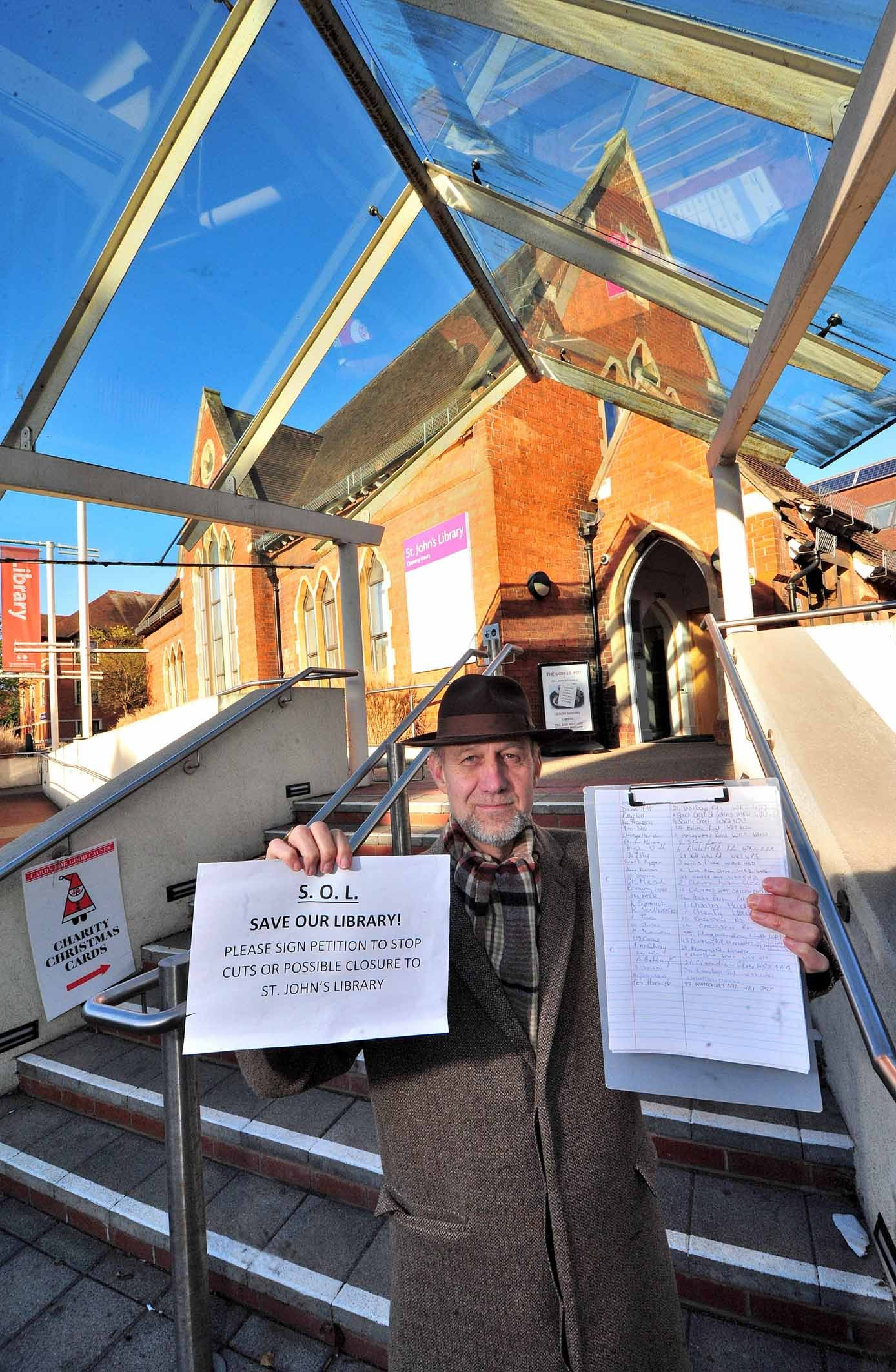 Christopher Gallantree-Smith, who has started a petition, opposing the closure of the library in St John's. Pic Jonathan Barry 19.11.18.
