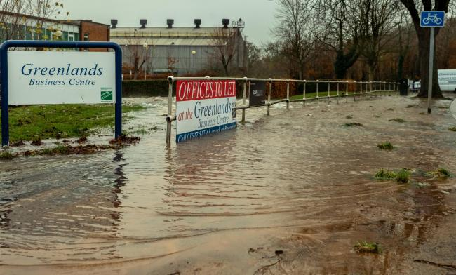 greenlands business centre flooded and hundreds of homes left
