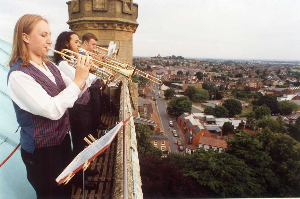 TODAY'S picture comes from the last summer of the 20th century and was taken atop Pershore Abbey Tower as part of the opening fanfare for the Pershore Midsummer Brass Festival. What began as a modest festival for local bands in the late 1980s had grow