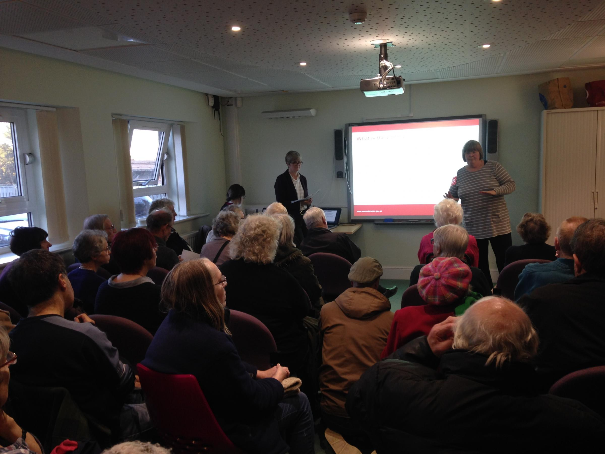 OPPOSITION: More than 80 residents crammed into St John's library in Worcester to voice concern over council changes.