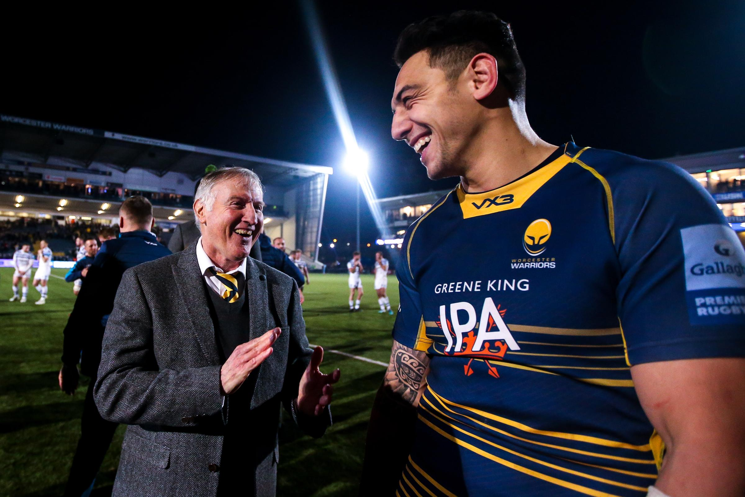 Wing Bryce Heem with boss Alan Solomons. Picture: Robbie Stephenson/JMP