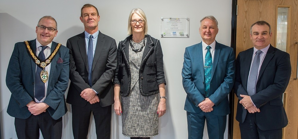 From left: Cllr Joe Baker, Mayor of Redditch; Mark Stansfeld,chair of Worcestershire LEP; Margot James MP, Lee Weatherly, CEO of Midland Group Training Services and Gary Woodman, chief executive of Worcestershire LEP..