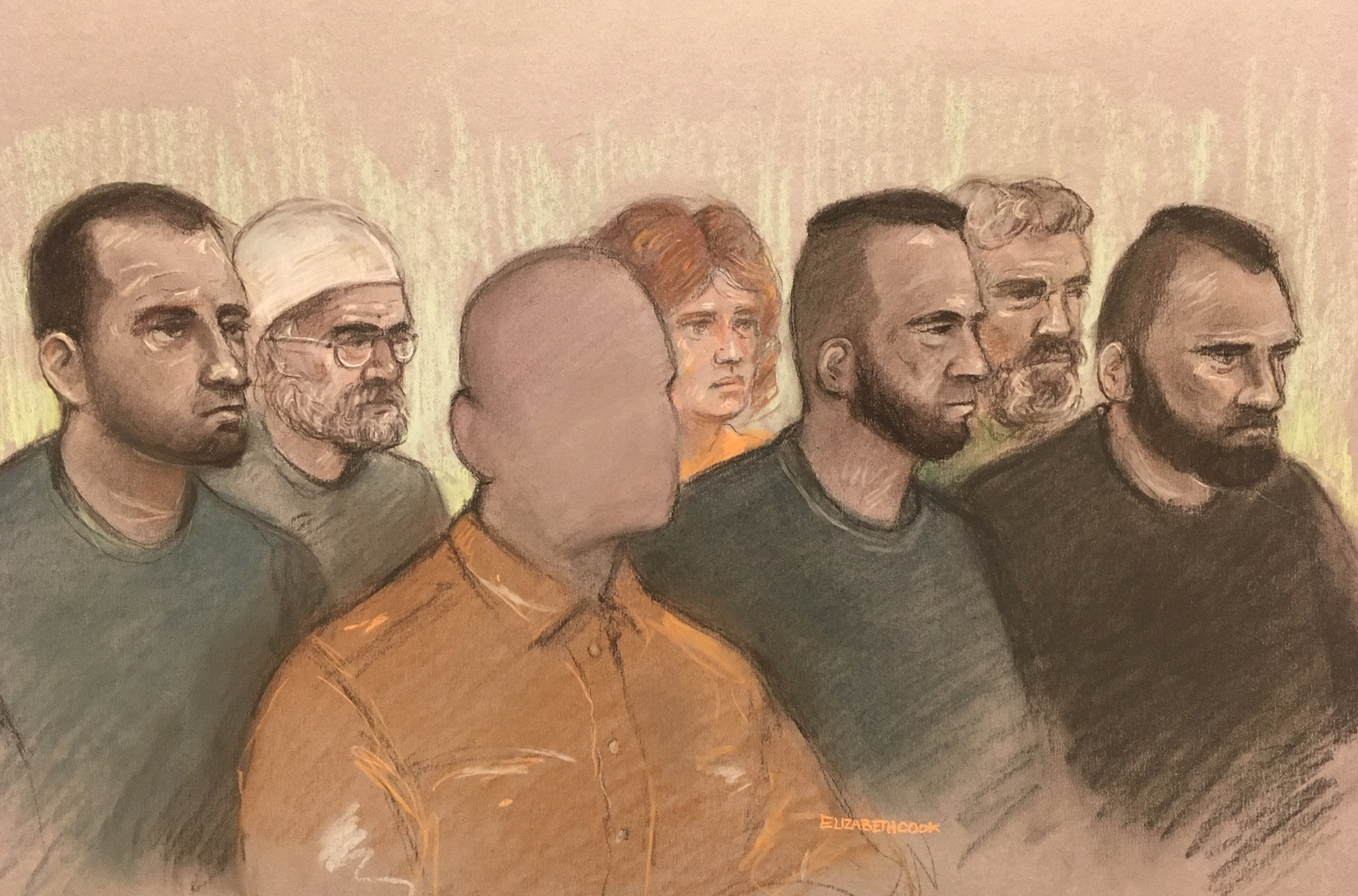 ALL TV OUT....Court artist sketch by Elizabeth Cook of (left to right) Norbert Pulko, Saied Hussini, father of three year boy (cannot be identified), Martina Badiova, Adam Cech, Jabar Paktia and Jan Dudi, in the dock at Worcester Crown Court charged for t