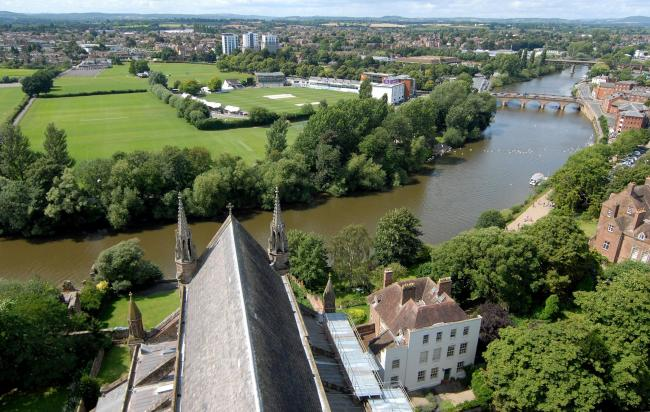 3114667401. 03/08/14. Views from the cathedral tower. The river Severn, Worcester bridge and the county cricket ground at New Road. Picture by Nick Toogood..