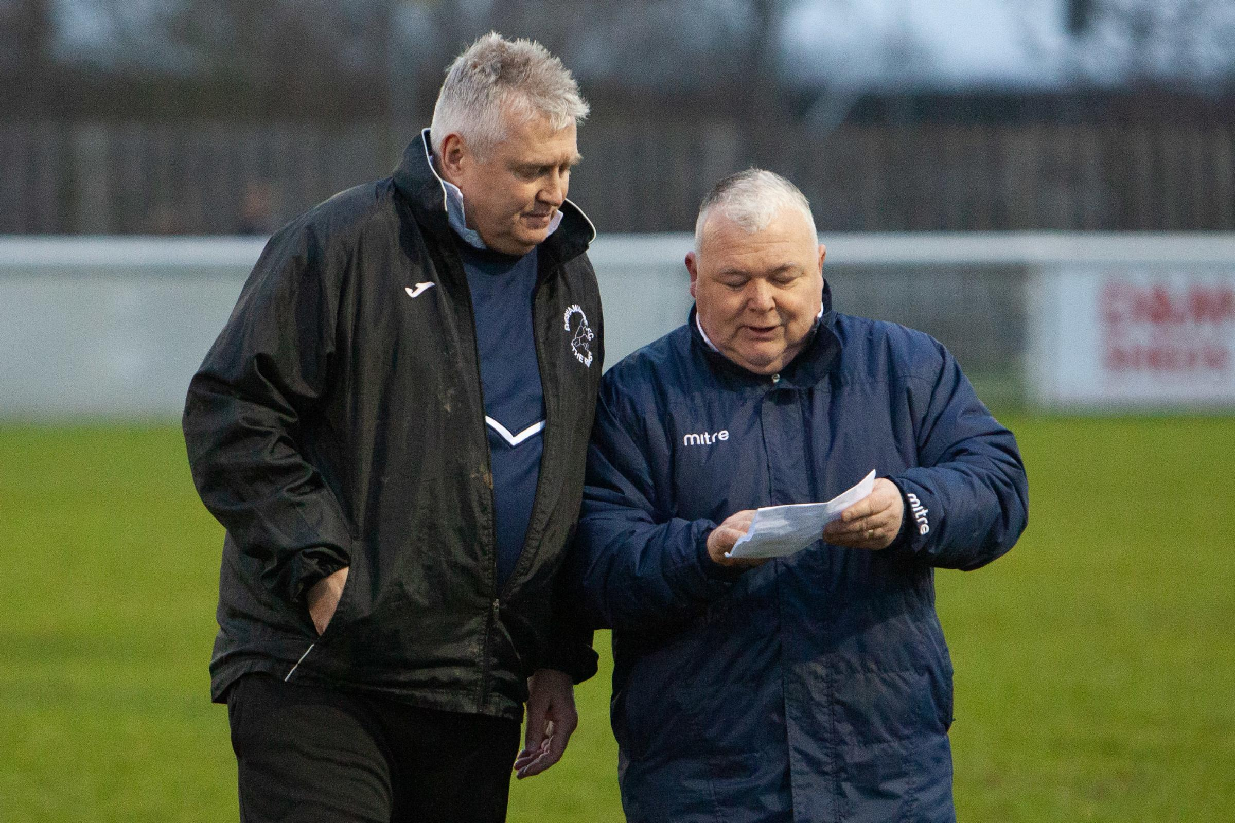 TALKING TACTICS: Paul Collicutt (left) and assisant Gerry Oldham. Pic: stuartpurfield.co.uk