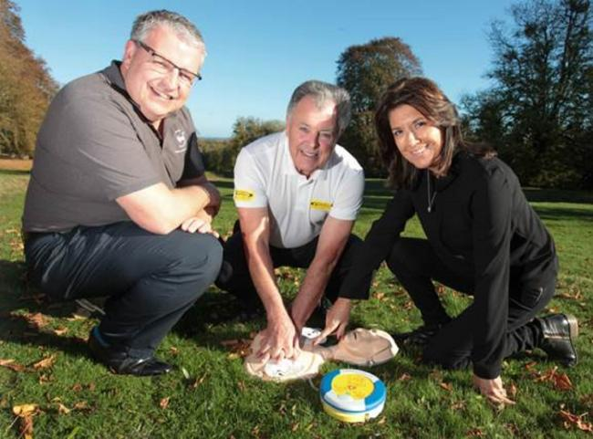 CAMPAIGN: Paul Williams, executive chairman of Golf Care, former Europe Ryder captain Bernard Gallacher and Trudie Lobban MBE, founder and trustee of the Arrhythmia Alliance