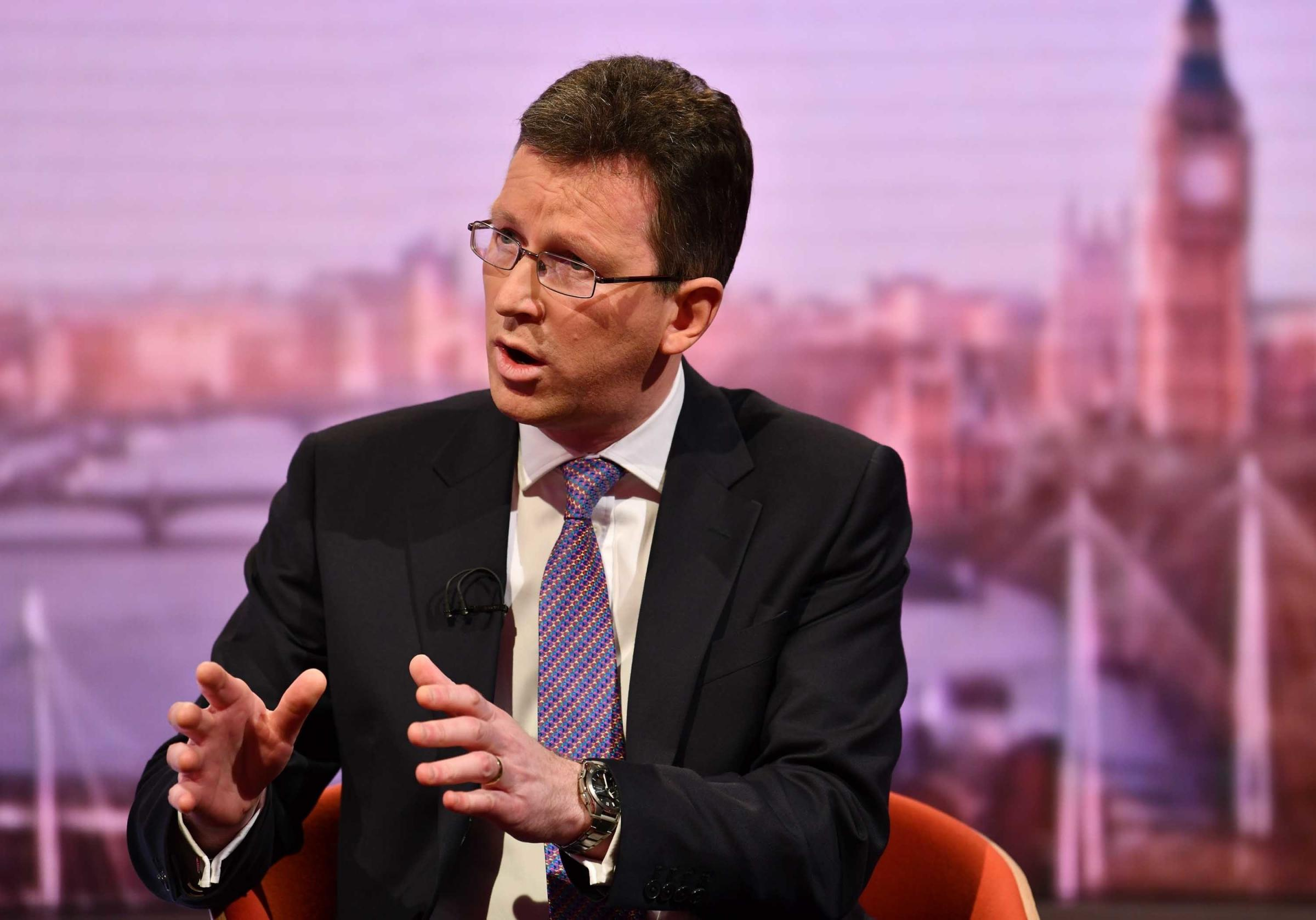 For use in UK, Ireland or Benelux countries only ..BBC handout photo of Culture Secretary Jeremy Wright appearing on the BBC1 current affairs programme, The Andrew Marr Show. PRESS ASSOCIATION Photo. Issue date: Sunday February 17, 2019. See PA story POLI