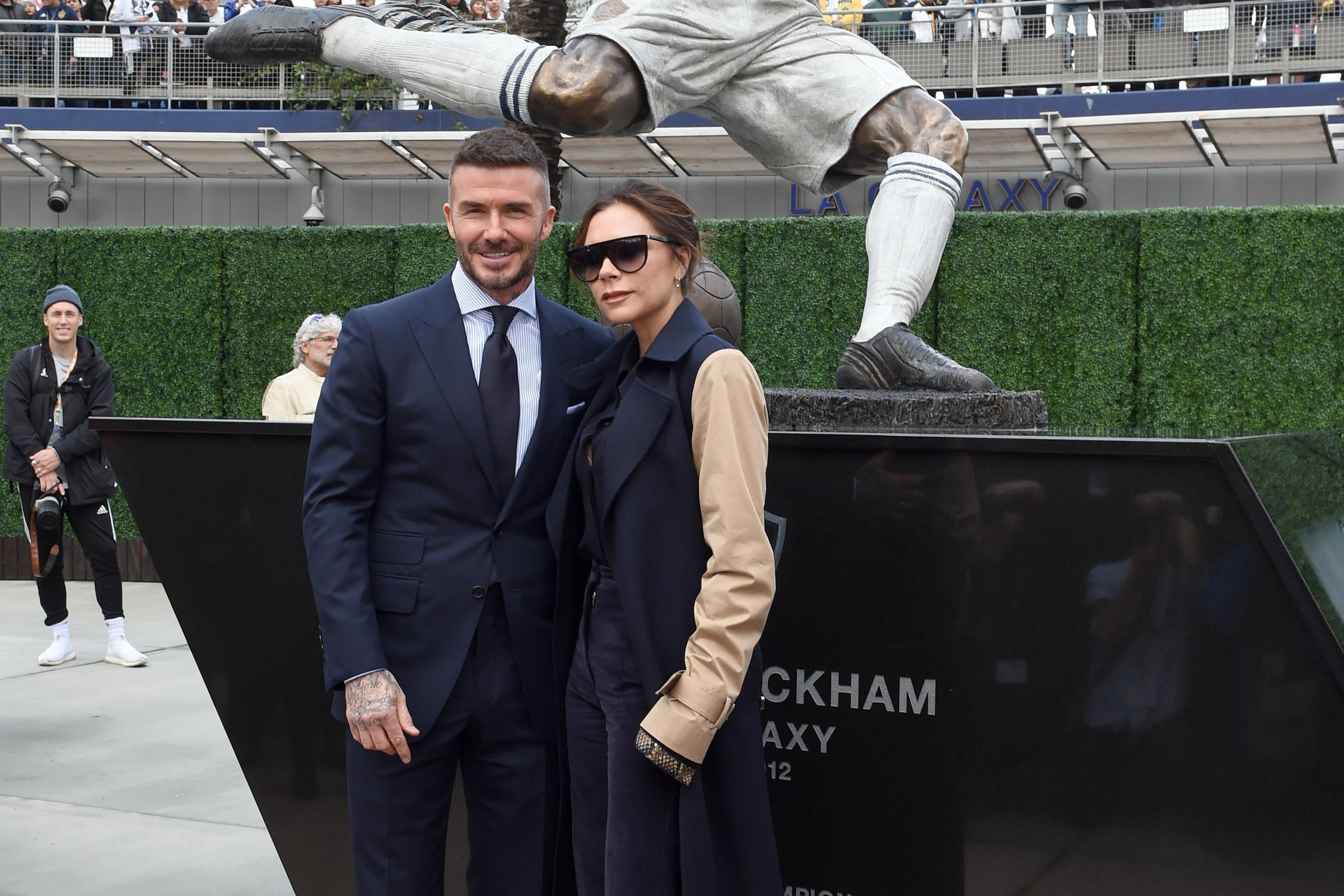 David Beckham attends a statue unveiling at the LA Galaxy's stadium