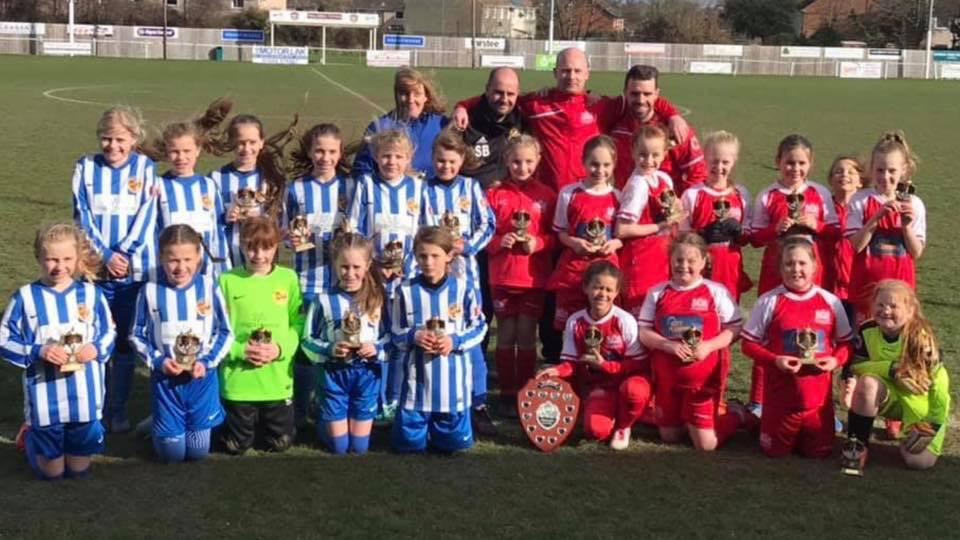 Worcester City girls' under 10s and West Worcester Youth at their Mercian Fortis Junior League Plate final. Picture: SCOTT FENN