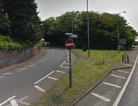 STOPPED: The junction in Powick leading towards Upton, where the car was stopped by police.