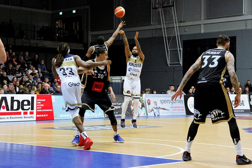 Worcester Wolves' Darell Combs, who scored 15 points in the first half, takes aim. Picture: KEITH HUNT