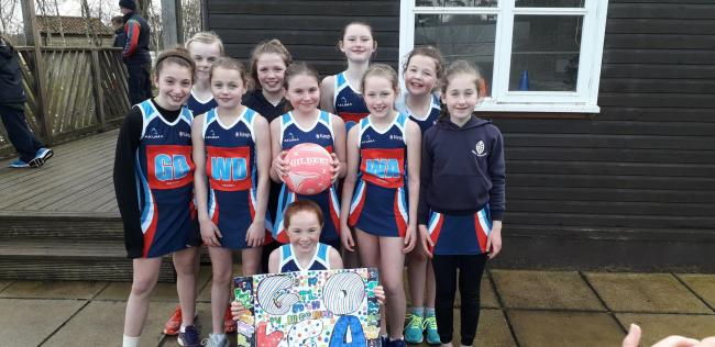 The girls' under 11s netball team won the south-west competition at Millfield School. Picture: KING'S ST ALBAN'S
