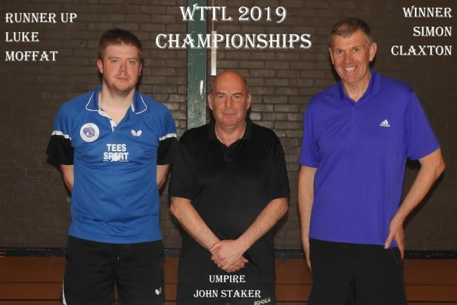 Worcester men's singles winner Simon Claxton (right) and runner-up Luke Moffatt after playing their Worcester Table Tennis League Championships final. Picture: JOHN CAWTHRA