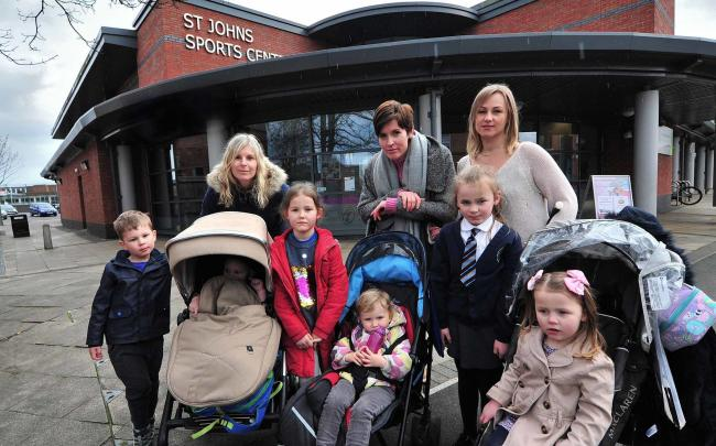 ANGER: Mums Alexandra Repton, Hannah Walker and Lauren Nawrat-Smith oppose the closure of the creche at St John's Sports Centre