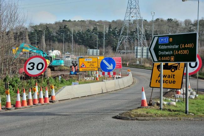 Improvement work continues on junction 6 of the M5 Motorway near Worcester