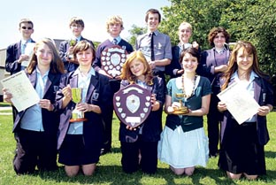 STARS: Some of the youngsters at Pershore High School who received accolades this year.