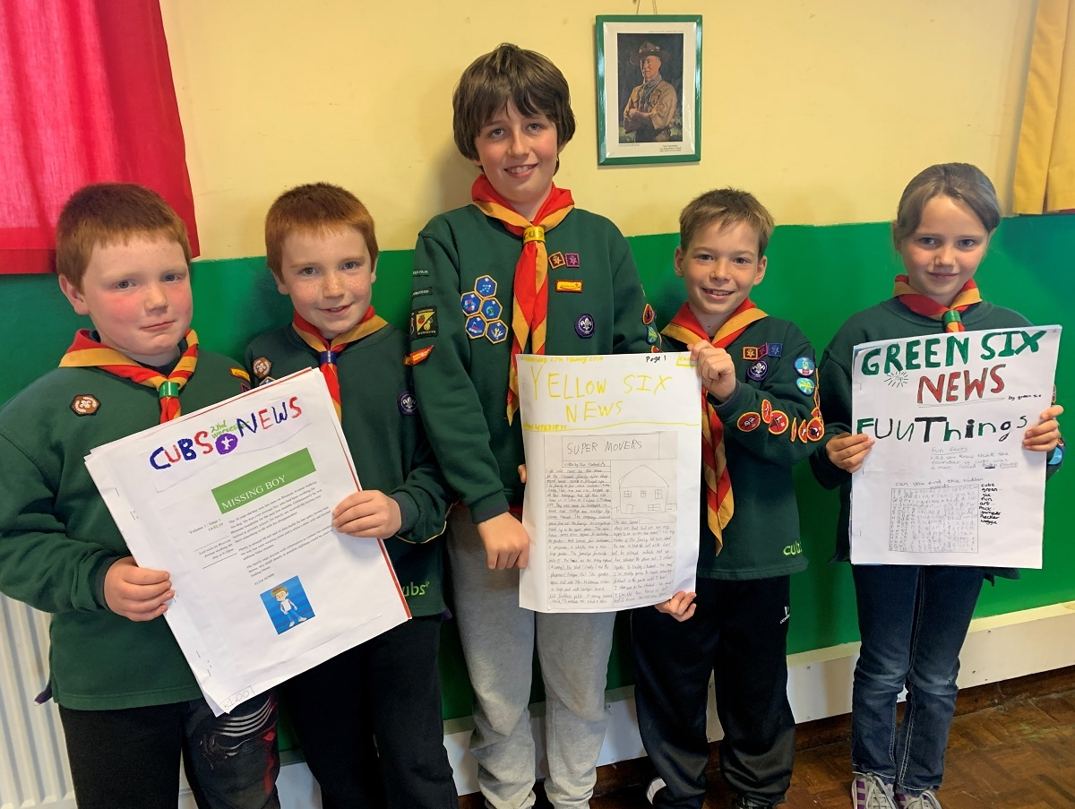 NEWS: James Williams, Owain Williams, Theo Stallard, Arthur Webb and Isobel Sweatman show off their newspapers