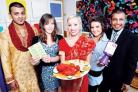 SPICY: From left: Head waiter Sadeq Ahmed, Molly Hunt, aged 17, Miss Worcester Leanne Groutage, 17, Georgia Sproul, 16, and restaurant owner Nurul Haque.