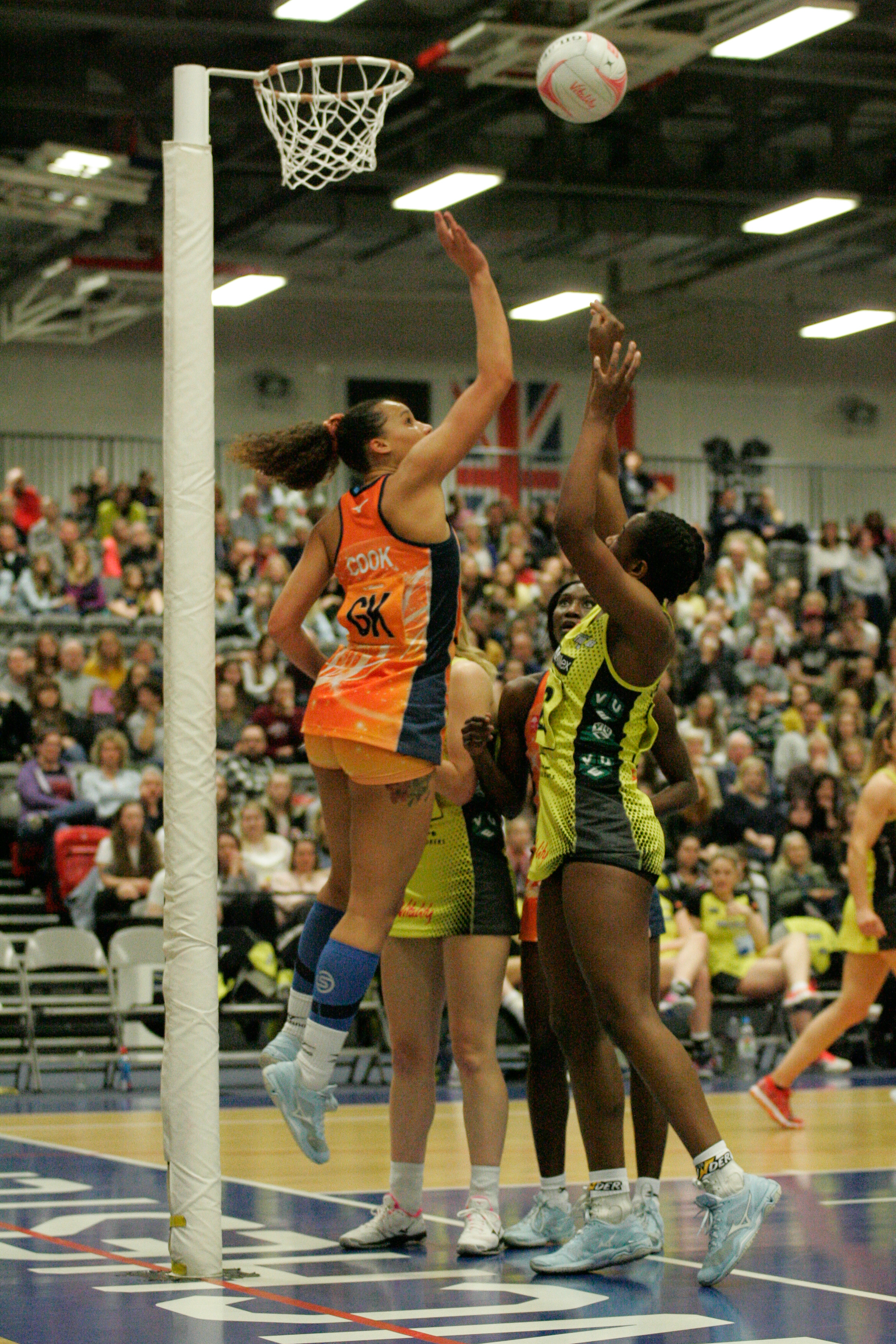 Severn Stars' Sam Cook (left) defends a shot in their win at Manchester. Picture: MARK PRITCHARD
