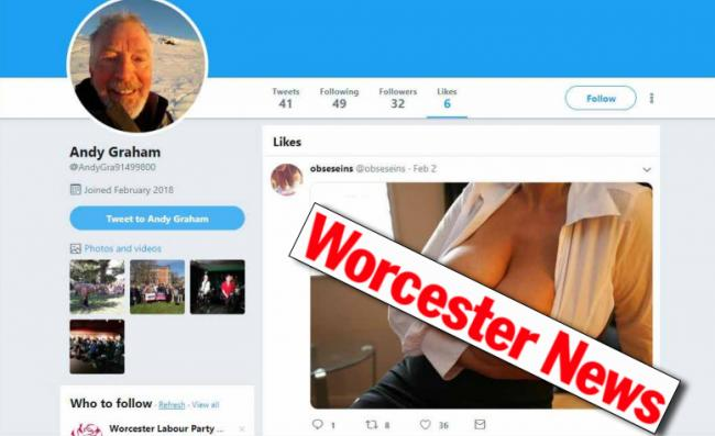 ROW: Council candidate Andy Graham claims he was the victim of hackers after a topless photo was found in his Twitter like list