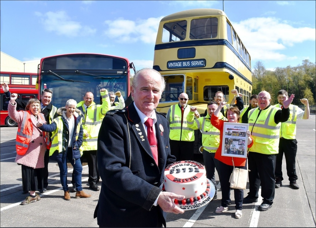Dave Gerrard at the National Express West Midlands depot in Pensnett. Photo: National Express West Midlands on Twitter.