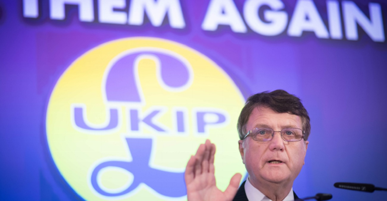UKIP Party leader Gerard Batten speaks during the launch of the party's European Parliament election campaign in Westminster, London