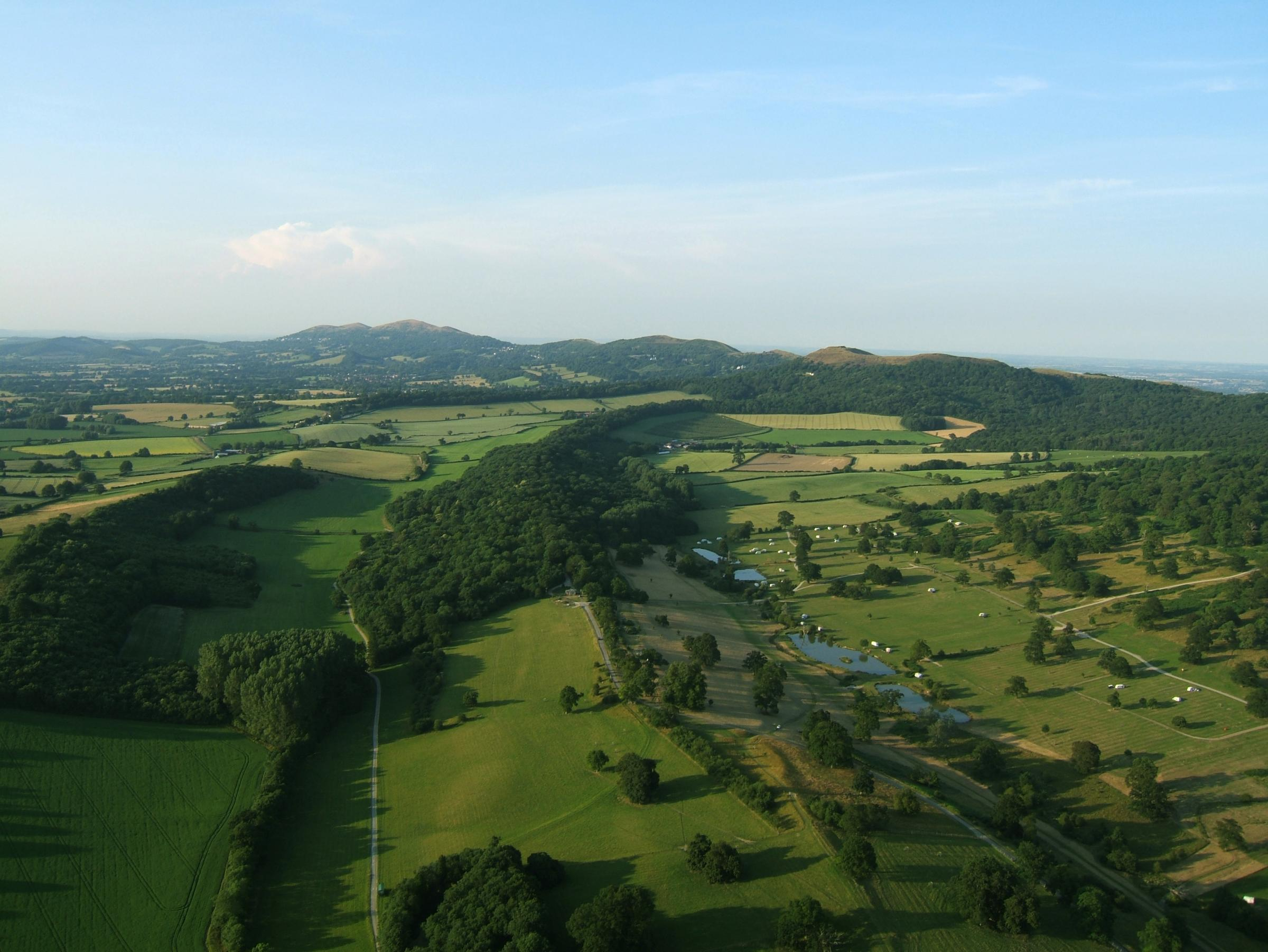 Flying over spectaculat Worcestershire countryside.