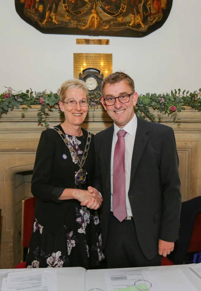 New mayor Gill Forman with outgoing mayor Andrew Foster