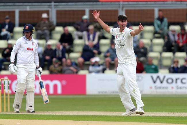 Josh Tongue of Worcestershire appeals for the wicket of Essex's Tom Westley during the opening day of the Specsavers County Championship division one clash at Blackfinch New Road. Picture: Gavin Ellis/TGS PHOTOS.