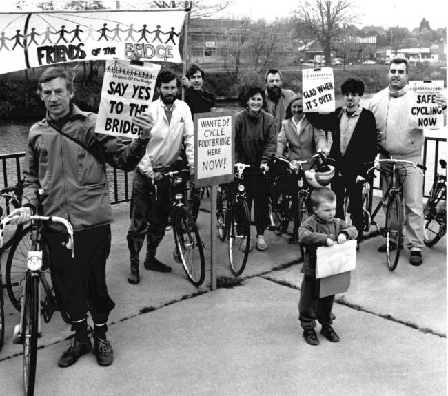 TODAY'S picture from the archive of the Worcester News dates back to April 1991, when local cyclists made their feelings known about a proposes foot and cycle bridge across the Severn. Their efforts eventually paid off with the construction of the Sab