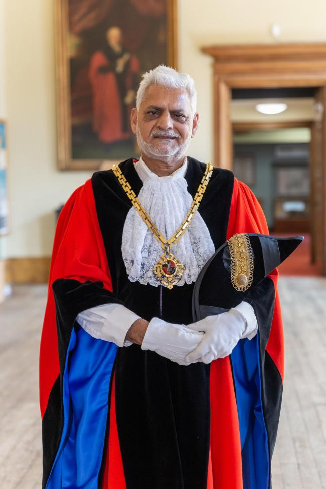 Cllr Allah Ditta, new mayor of Worcester in his mayoral regalia and chain
