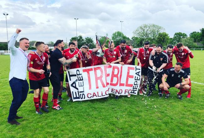 Callow End celebrate completing the treble with the Vaughn Albone Memorial Cup. Picture: Twitter @CallowEnd_fc