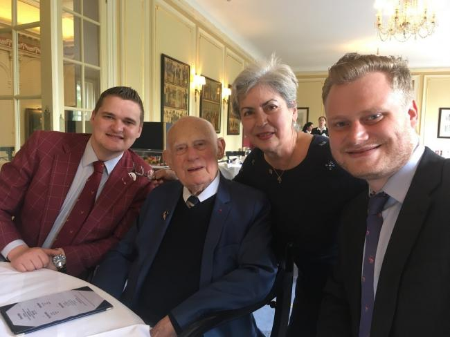 Samuel (far left) and Russel Leeds (far right) pictured with two of their French hosts, 96-year-old René Marbot and Brigitte Williams.