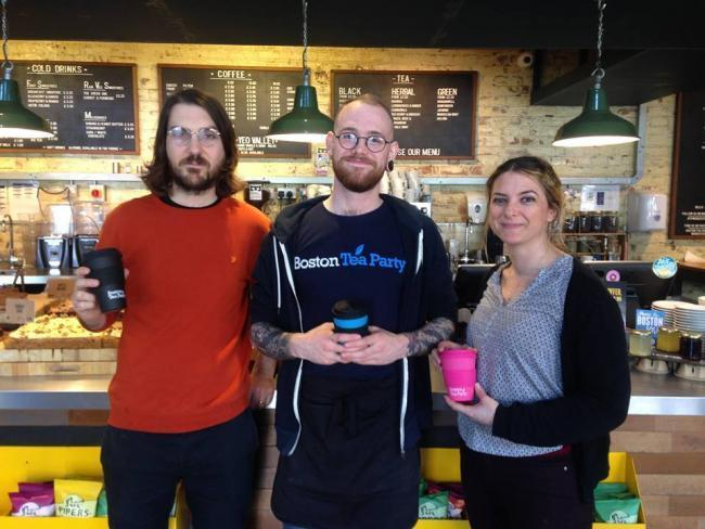 CUPS: From left to right: Boston Tea Party staff Joe Thomlinson, Kieran Perkins and Lena Vergne at the Boston Tea Party in Worcester
