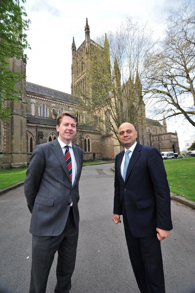 Sajid Javid, Secretary of State for Culture, Media and Sport pictured with Robin Walker during his visit to Worcester Cathedral. Pic Jonathan Barry 17.4.15  1615861409.
