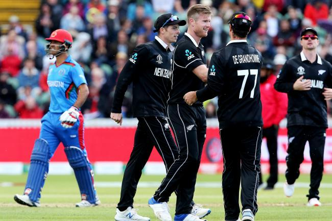 Image result for New Zealand made it three wins from three as Jimmy Neesham and Lockie Ferguson found form with the ball in a seven-wicket win against Afghanistan.