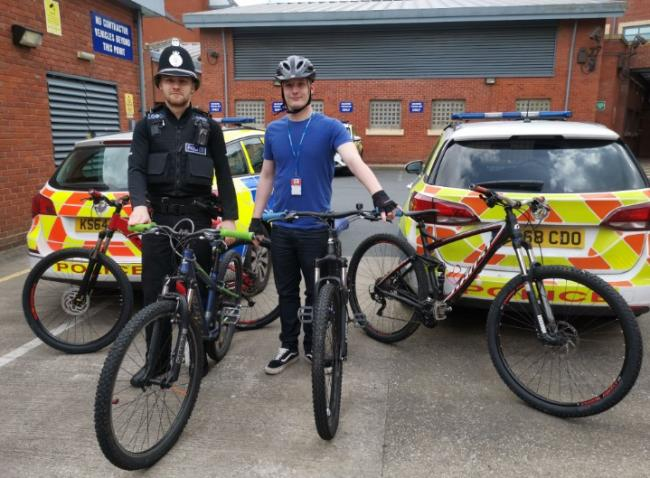 BIKES: Officers from West Mercia Police with the seized bikes. Pic. @WorcesterCops